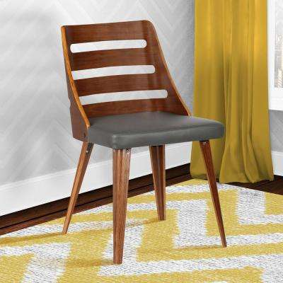 Storm 31 in. Gray Faux Leather and Walnut Wood Mid-Century Dining Chair