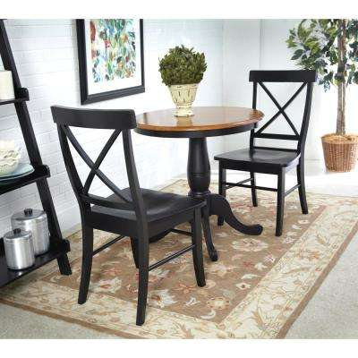 X-Back 3-Piece Black and Cherry Dining Set