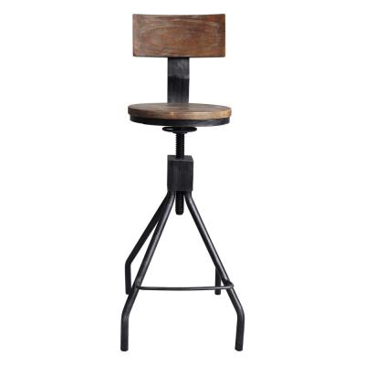 Today's Mentality Ramona Industrial 38-44 in. Silver Brushed Gray Adjustable Metal Barstool with Walnut Wood Back and Seat