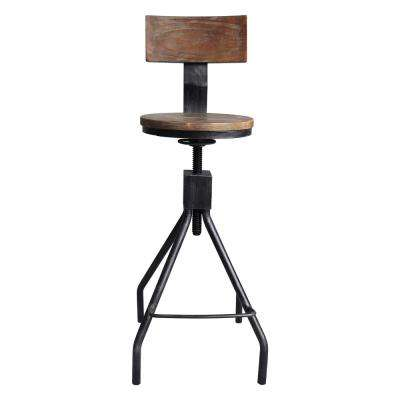 Ramona Industrial 38-44 in. Silver Brushed Gray Adjustable Metal Barstool with Walnut Wood Back and Seat