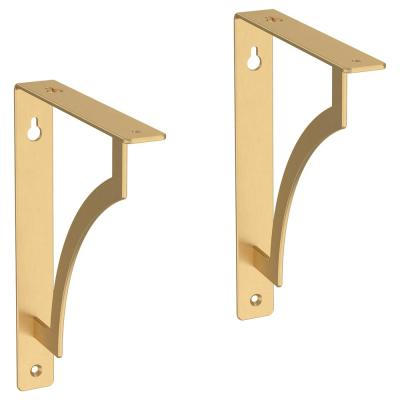 8 in. Painted Brushed Brass Steel Classic Casual Decorative Shelf Bracket (2-Pack)