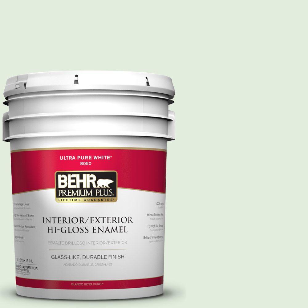 BEHR Premium Plus 5-gal. #M400-1 Establish Mint Hi-Gloss Enamel Interior/Exterior Paint