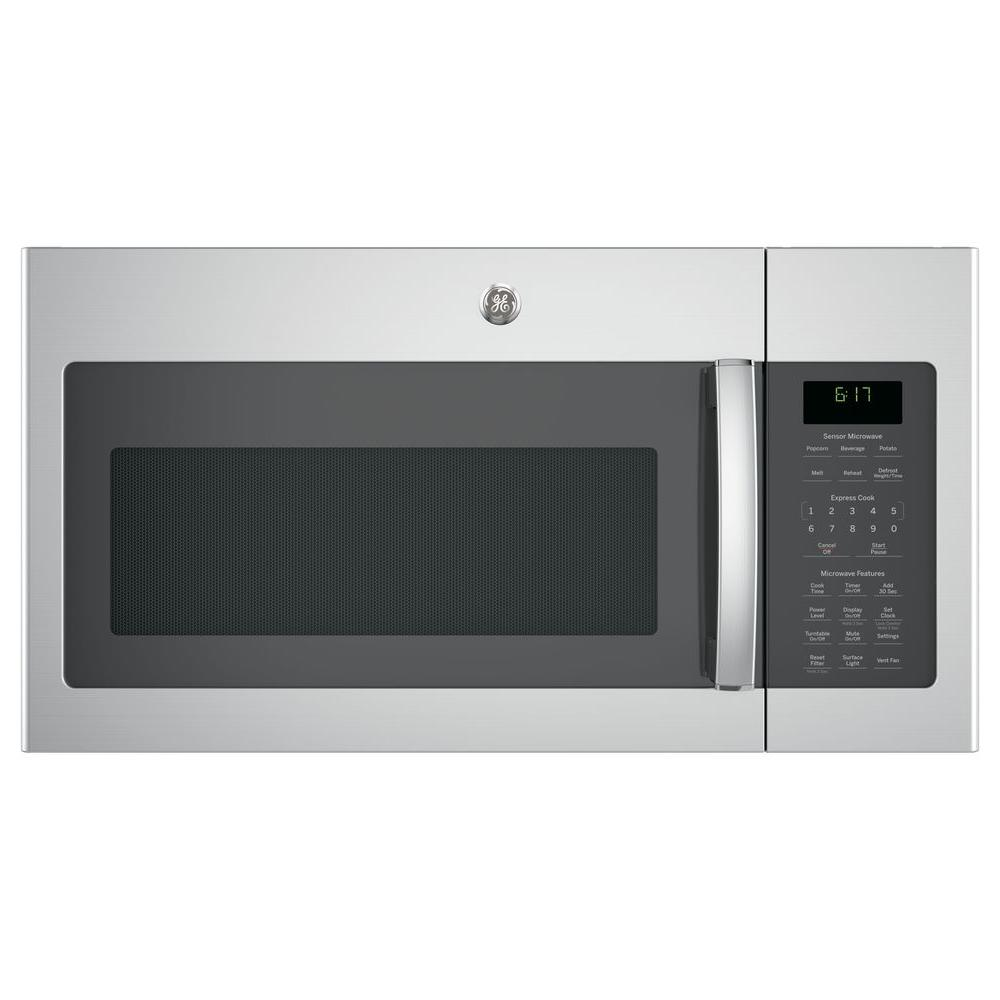 1.7 cu. ft. Over the Range Microwave with Sensor Cooking in Stainless Steel (Silver) Your GE 1.7 cu. ft. Over the Range Sensor Microwave Oven in Stainless Steel has 1000-Watt of power. Two speed 300-CFM venting fan system quickly removes smoke, steam and odors from the cooktop to keep kitchen air fresh and clean. Weight and time defrost lets you simply enter the weight of the food, and the oven automatically sets the optimal defrosting time and power level or set your desired time for defrosting. Add  30 seconds  button adds 30 seconds of microwave cooking time. Melt feature allows worry-free melting of butter, caramel, chocolate and cheese. GE appliances provide up-to-date technology and exceptional quality to simplify the way you live. With a timeless appearance, this family of appliances is ideal for your family. And, coming from one of the most trusted names in America, you know that this entire selection of appliances is as advanced as it is practical.
