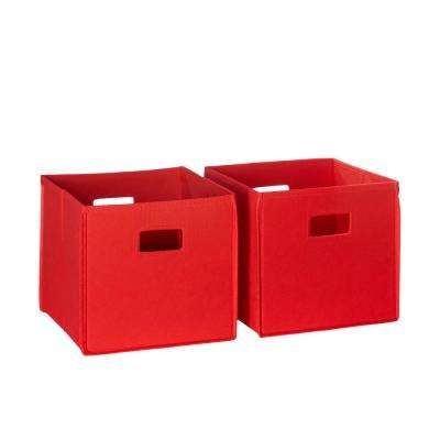 10.5 in. x 10 in. Red Folding Storage Bin Set Organizer (2-Piece)