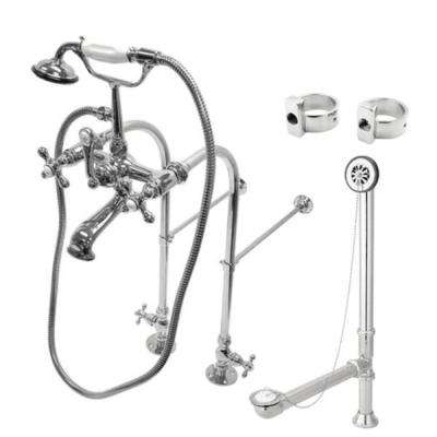 Freestanding Combo Set 3-Handle Claw Foot Tub Faucet with Drain and Supply Lines in Chrome