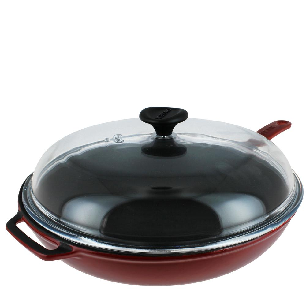 11 in. Red French Enameled Cast Iron Fry Pan with Glass