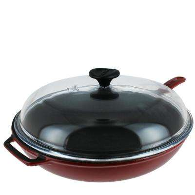 11 in. Red French Enameled Cast Iron Fry Pan with Glass Lid