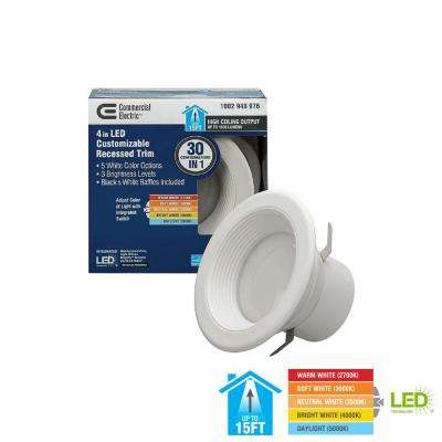 4 in. Lumen and Color Selectable Integrated LED Recessed Downlight Retro Fit Trim