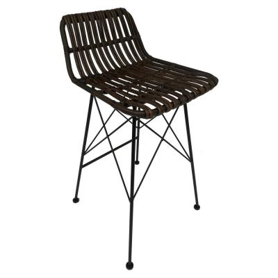 37 in. Brown Metal Bar Stool-Brown