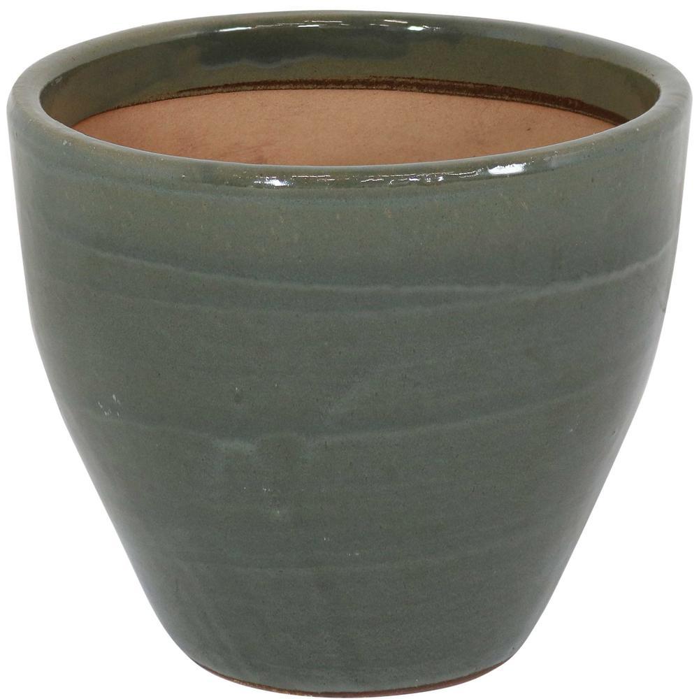 Resort 13 in. Gray Ceramic Indoor/Outdoor Planter