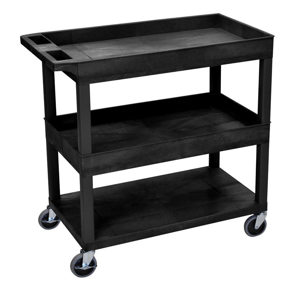 EC 32 in. 3-Shelf Utility Cart in Black