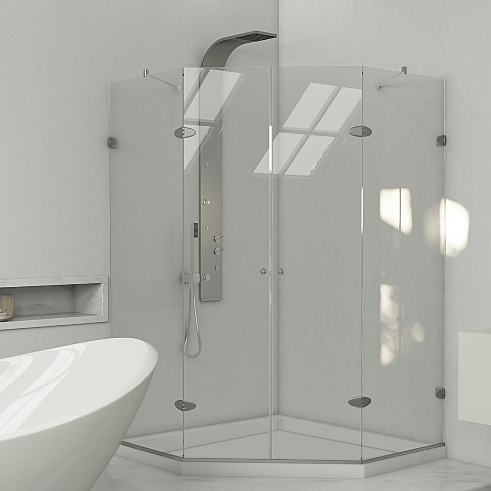 Gemini 42.125 in. x 76.75 in. Neo-Angle Shower Enclosure in Brushed