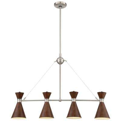 Conic 4-Light Brushed Nickel Billiard Light with Distressed Koa Metal Shade