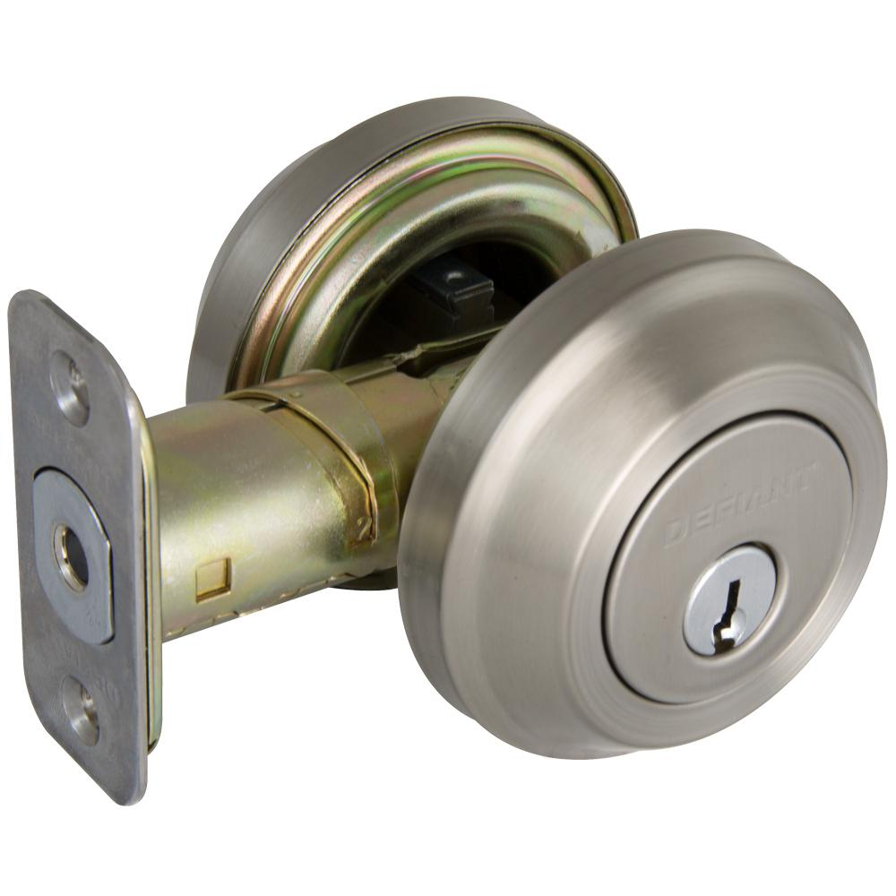 Contemporary Satin Nickel Double Cylinder Deadbolt