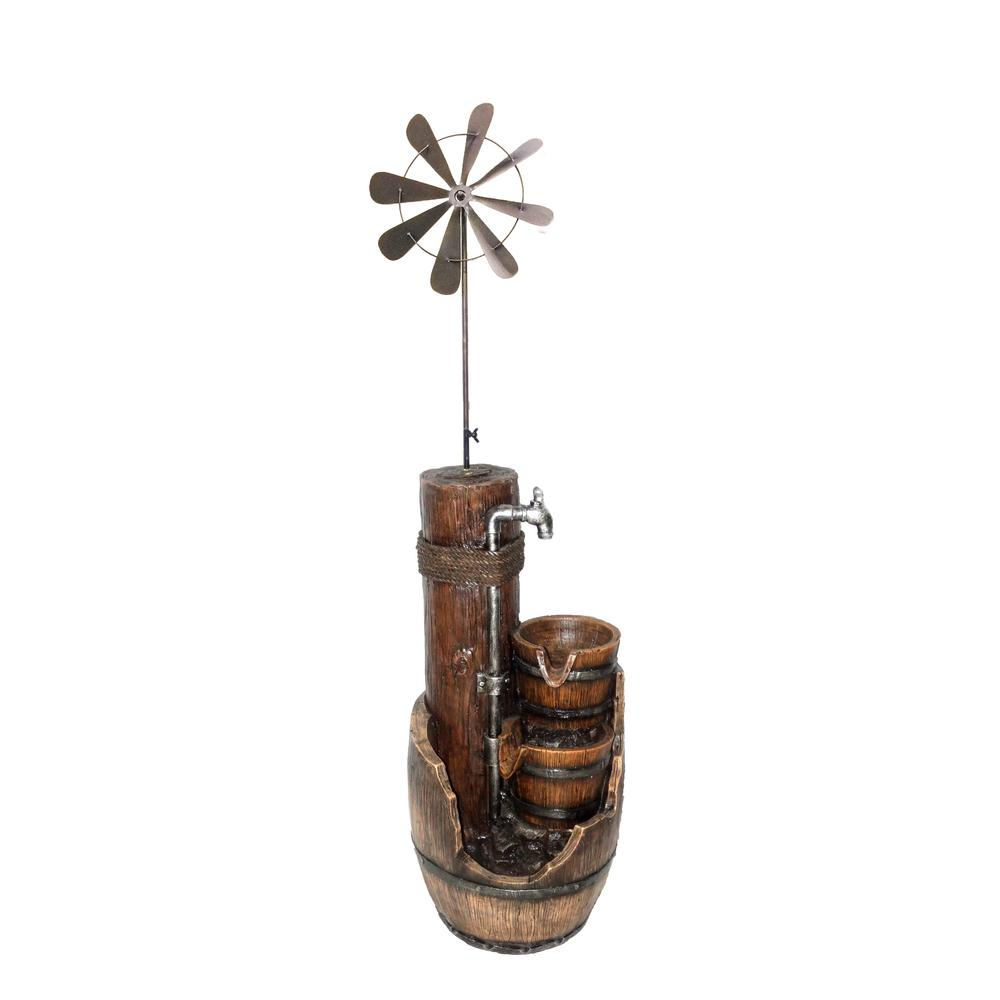 47 in. Tall 3-Tier Pump and Barrel Fountain with Windmill