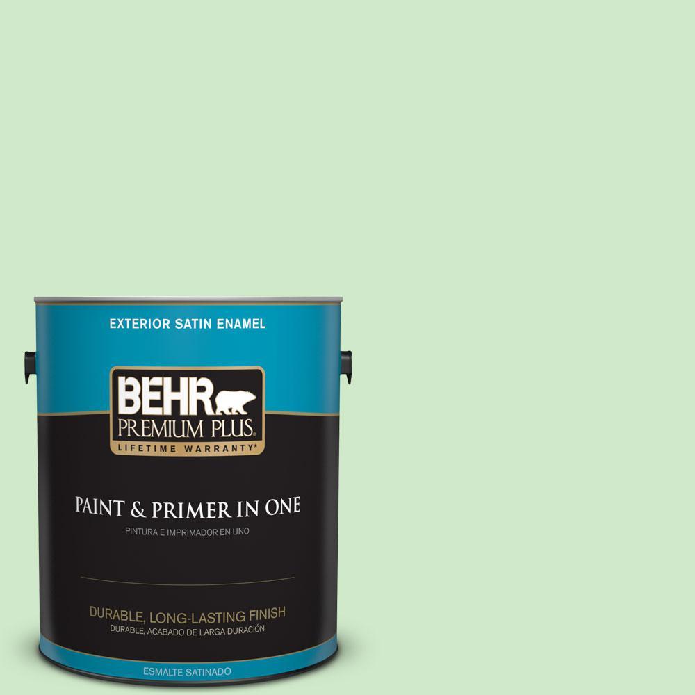 BEHR Premium Plus 1-gal. #440A-3 Mint Frappe Satin Enamel Exterior Paint