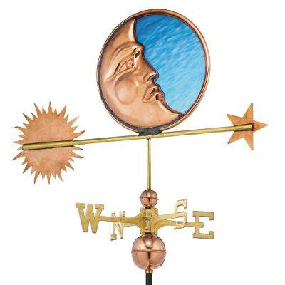 Stained Glass Moon Weathervane - Pure Copper