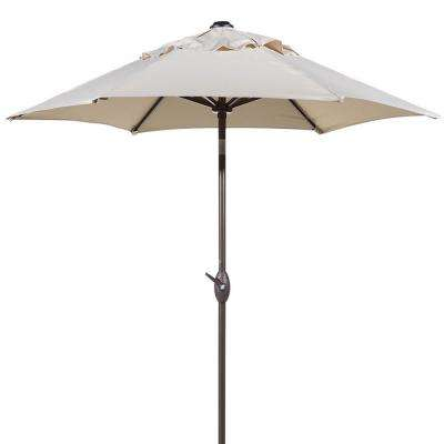 7-1/2 ft. Round Outdoor Market with Push Button Tilt and Crank Lift Patio Umbrella in Beige