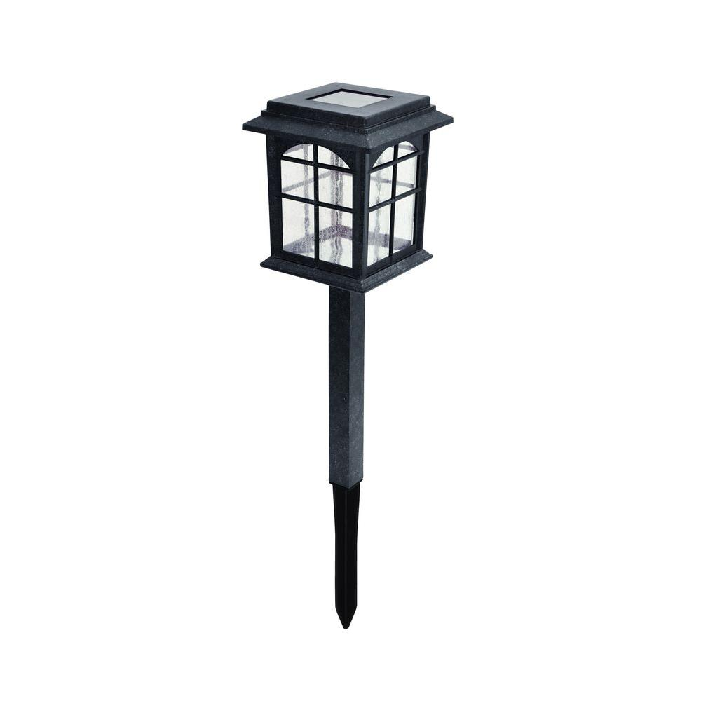 Hampton Bay Solar Black Outdoor Integrated Led Square Landscape Path Light With Seeded Gl Lens