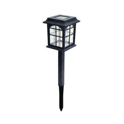 Solar Black Outdoor Integrated LED Square Landscape Path Light with Seeded Glass Lens (4-Pack)