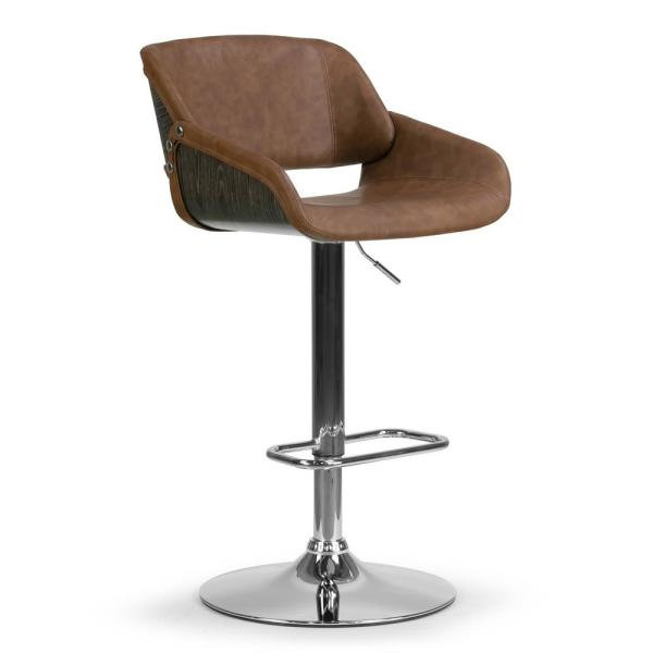 Amabel Brown with Grey Bentwood Accent Back Upholstered 33 in. Adjust Height Bar Stool