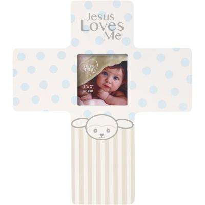 Precious Lamb 2 in. x 2 in. Blue and Gray Boy Matte Wood Cross Picture Frame