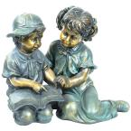 2-Piece Indoor/Outdoor Girl and Boy Reading Statue Set Yard Art Decoration