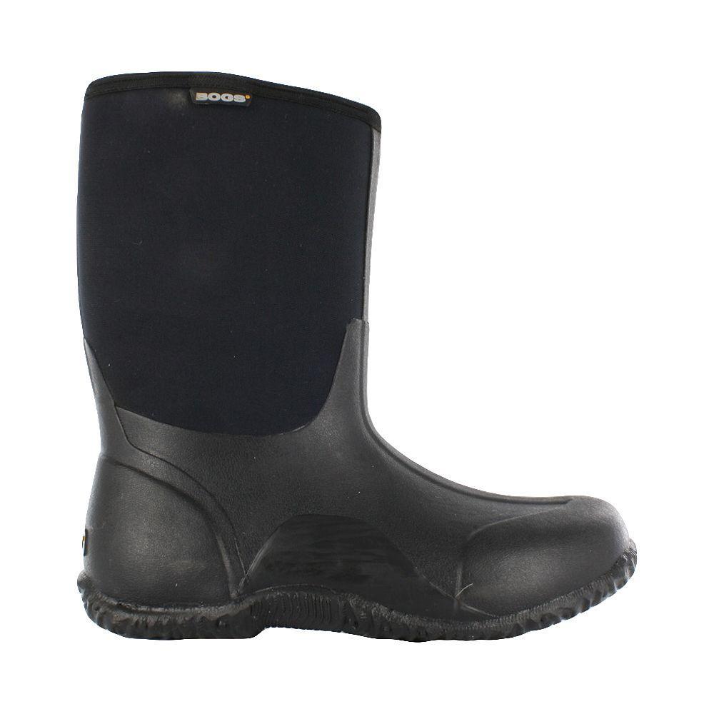 Classic Mid Men 11 in. Size 7 Black Rubber with Neoprene Waterproof Boot