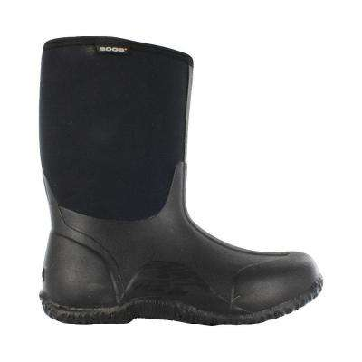 Classic Mid Men 11 in. Size 12 Black Rubber with Neoprene Waterproof Boot