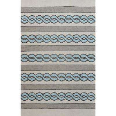Ivory/Spa Cable Knit 8 ft. x 10 ft. Area Rug