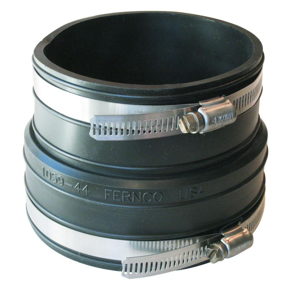 Fernco 4 in. x 4 in. PVC Plastic Socket to Plastic Pipe Flexible Coupling