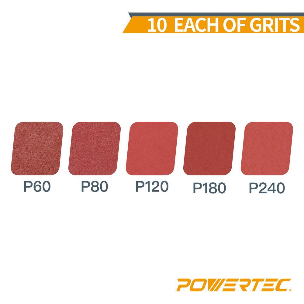 POWERTEC 110410 12-Inch PSA 240 Grit Aluminum Oxide Adhesive Sanding Disc 10-Pack