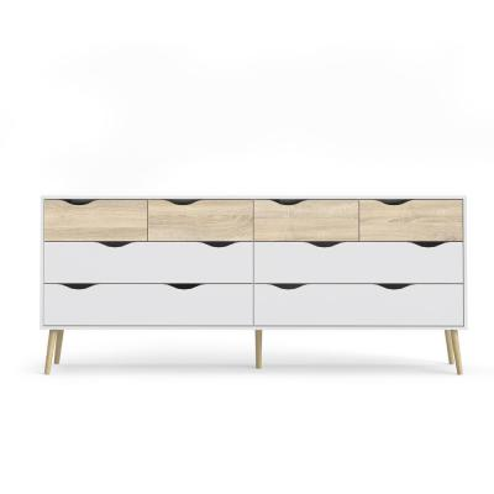 Diana 8-Drawer White/Oak Structure Dresser