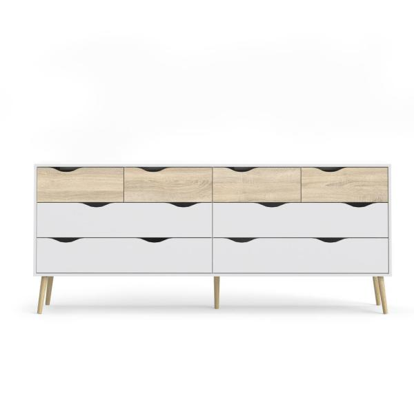 Diana 8-Drawer White/Oak Structure Dresser