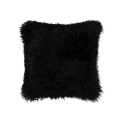 New Zealand Sheepskin Black Solid 18 in. x 18 in. Throw Pillow
