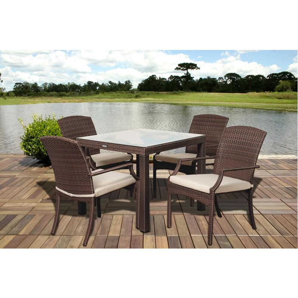 Thompson 5 Piece Wicker Patio Dining Set With Off White Cushions