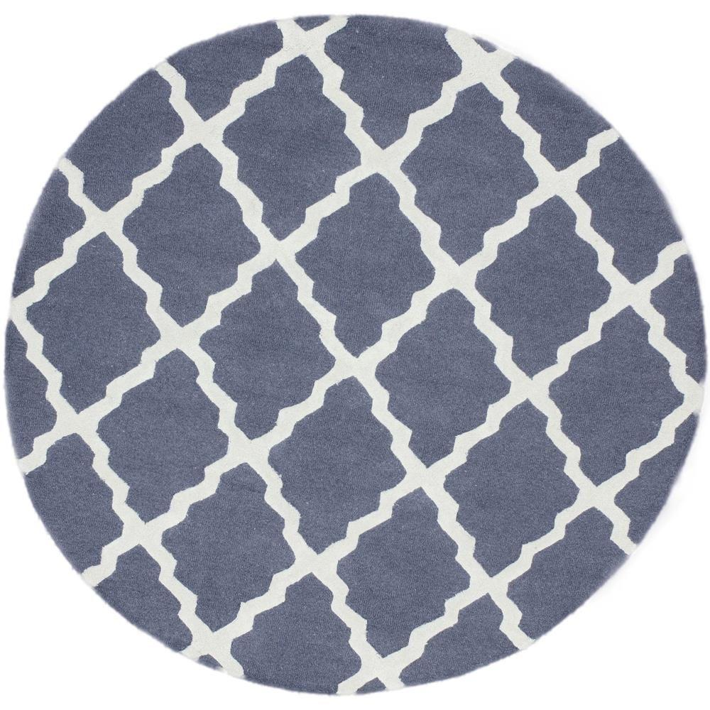 Nuloom Washable Rugs: NuLOOM Trellis Blue Grey 6 Ft. X 6 Ft. Round Area Rug