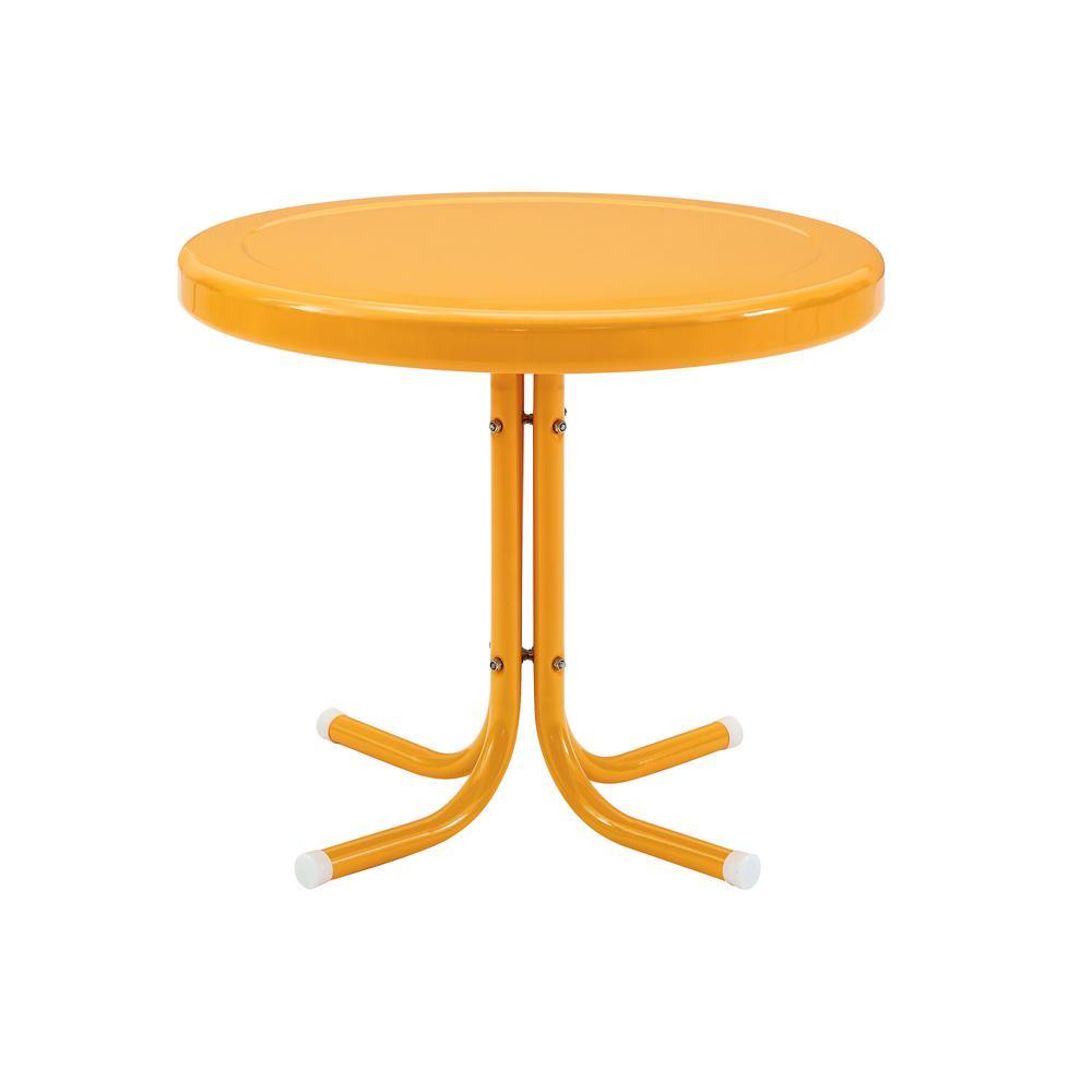 Retro Metal Tangerine Round Metal Outdoor Side Table