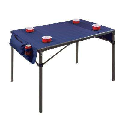 Navy Plastic Outdoor Patio Travel Table with Gunmetal Grey Frame