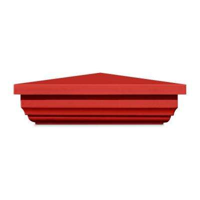 5 in. x 5 in. Vinyl Anaheim Barn Red New England Pyramid Post Cap