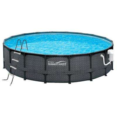 Dark Wicker 18 ft. Round 52 in. Deep Metal Frame Pool Package