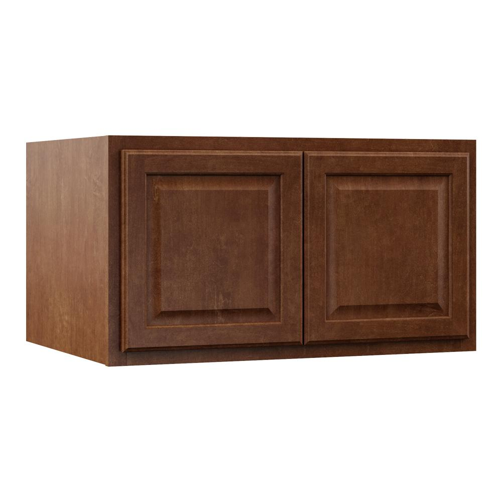 Hampton Bay Hampton Assembled 36x18x24 in. Above Refrigerator Deep Wall Bridge Kitchen Cabinet in Cognac