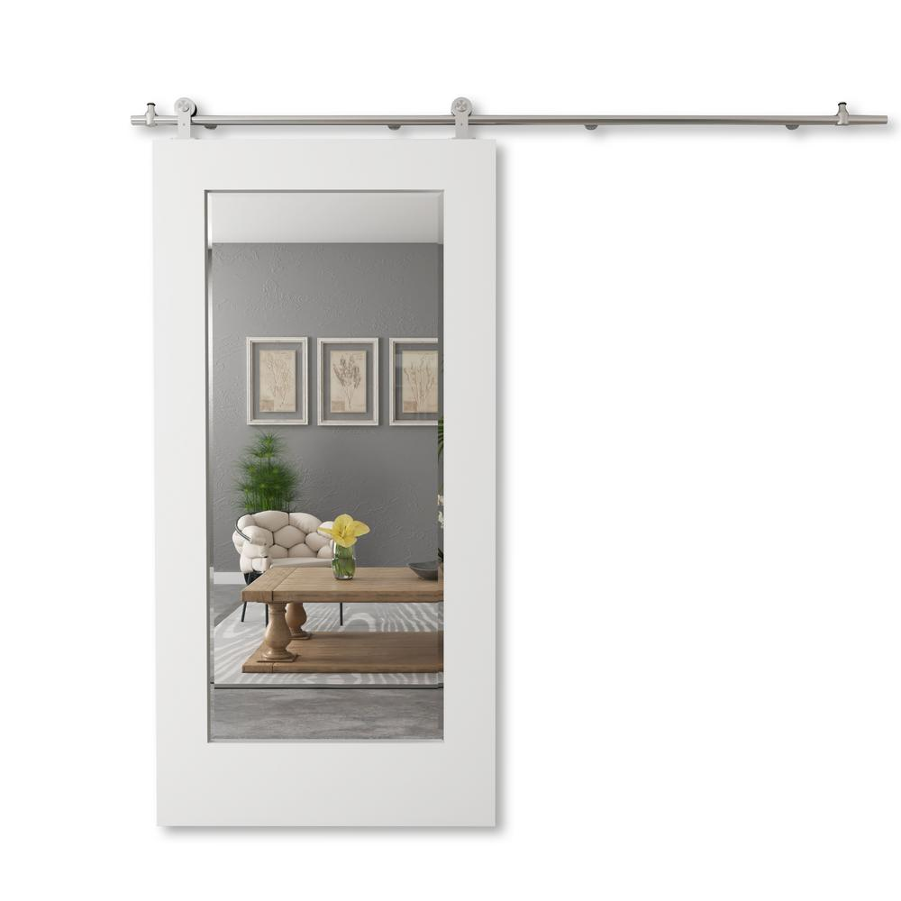 Urban Woodcraft 40 In X 83 Lismore Solid Core White Wood Modern Barn Door With Sliding Hardware Kit