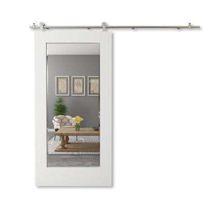 42 in. x 96 in. LISMORE Solid Core White Wood Modern Barn Door with Sliding Door Hardware Kit