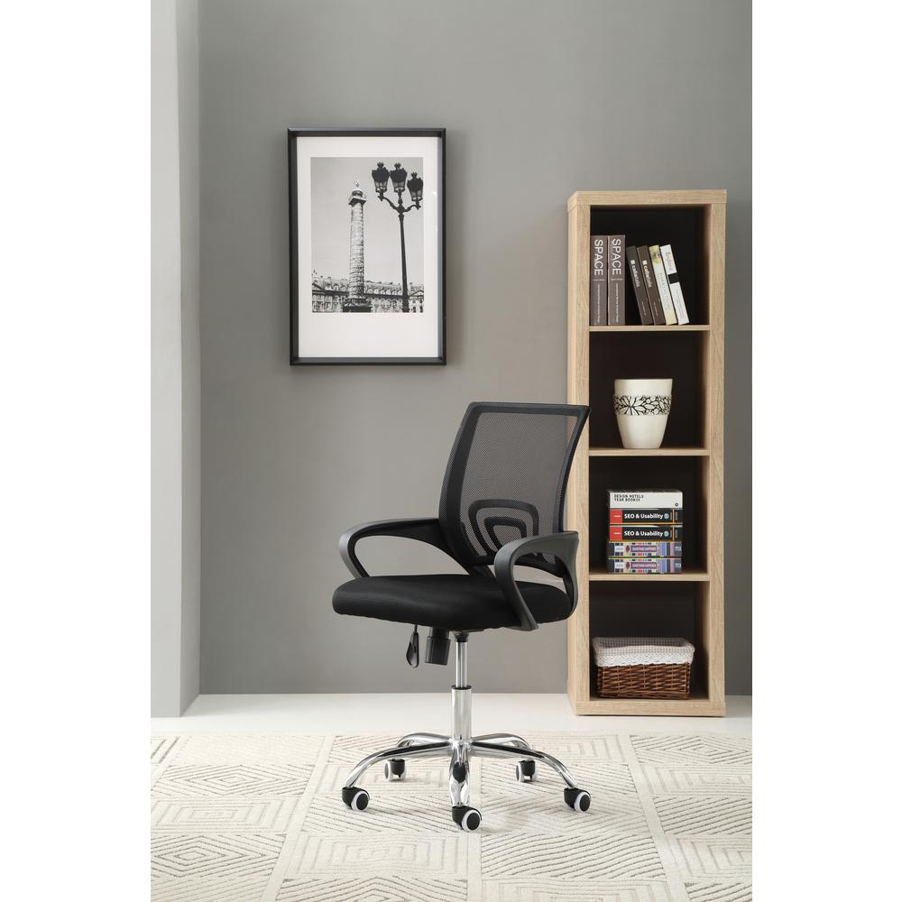 Hodedah Mesh Black Mid Back Office Chair With Chrome Base
