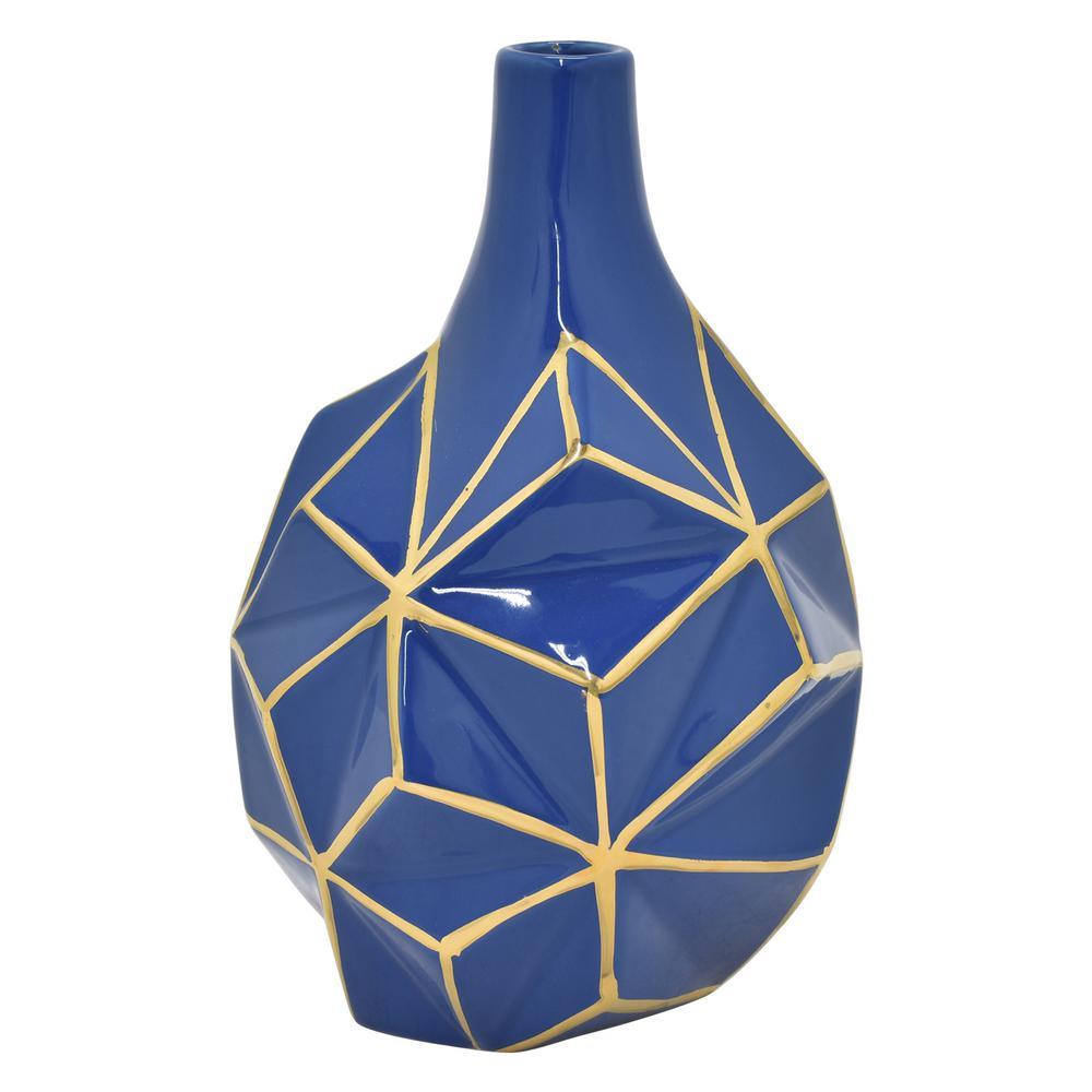9.5 in. Blue and Gold Porcelain Vase