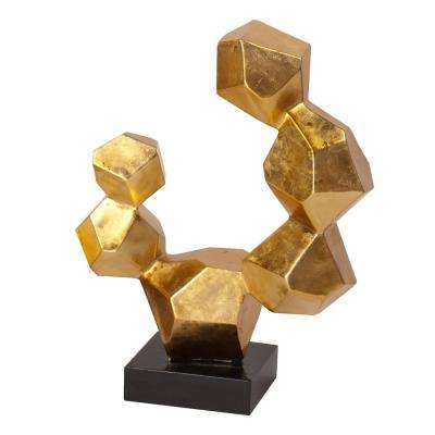 Small Gold Leaf Geometric Sculpture on Black Base