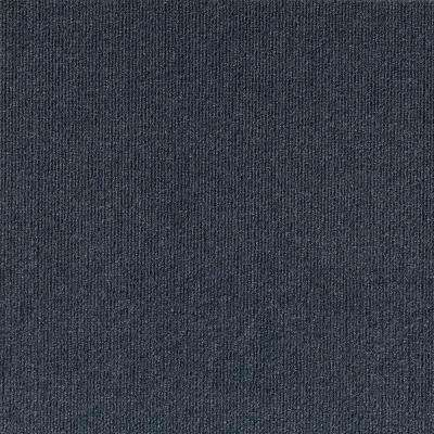 Inspirations Ocean Blue Ribbed Texture 18 in. x 18 in. Carpet Tile (16 Tiles/36 sq. ft./ case)