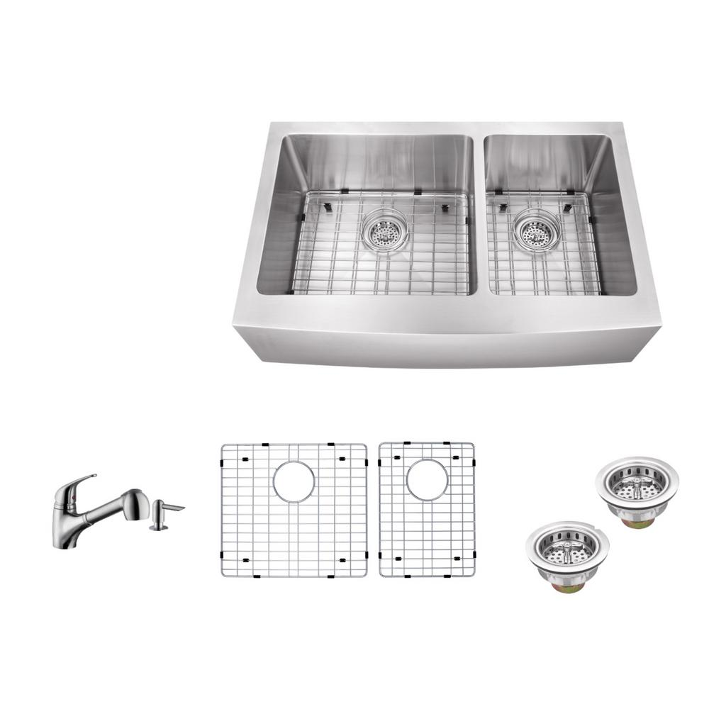 Ipt sink company apron front 33 in 16 gauge stainless for The kitchen sink company