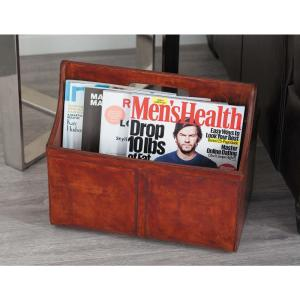 Real Distressed Brown Leather and Wood Freestanding Magazine Rack by